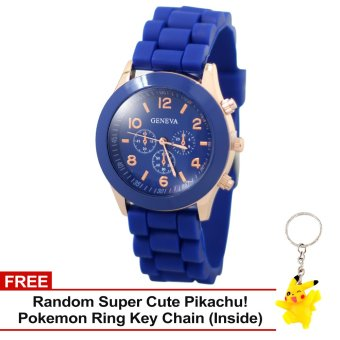 Harga Geneva Nikka Women's Silicone Strap Watch (Blue) with Free Super Cute Pikachu Key Chain
