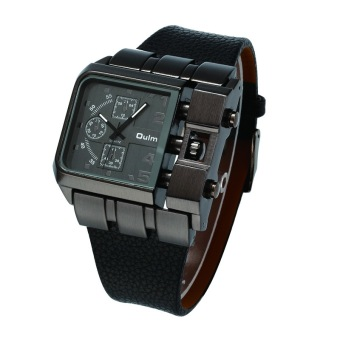 Harga Oulm Brand Men's Big Face Clock Men Leather Strap Sports Watch Military Army, Black - Intl