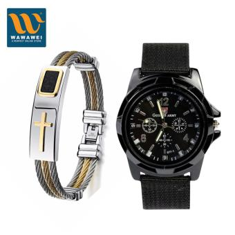 Harga Wawawei Fashion Cross Jesus Premium Stainless Steel Bracelet With GEMIUS ARMY Military Sport Style Army Men's Black Canvas Strap Watch