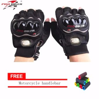 Harga lazada and USA best selling BLCAK/SLIVER Fingerless Motorcycle Gloves Half Finger Guantes Motorcross Bicycle Riding Racing Cycling Sport Gears Breathable Luvas (Black) With Motorcycle handlebar sleeve