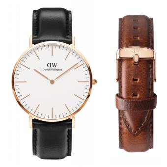 Harga Daniel Wellington Classic Sheffield 40mm Rosegold Watch with St. Mawes Strap Set
