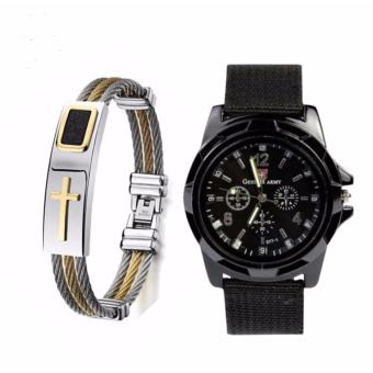 Harga Cross Jesus Premium Stainless Steel Bracelet With GEMIUS ARMY Military Sport Style Army Men's Black Canvas Strap Watch