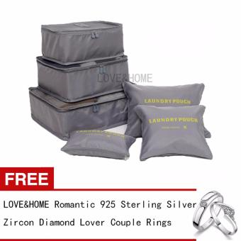 Harga LOVE&HOME 6 in 1 Secret Pouch Travel Organizer Set (Gray) Free Romantic 925 Sterling Silver Zircon Diamond Lover Couple Rings