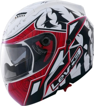 Lev3® Modular BJ-5710 Pines Motorcycle Helmet (White/Red/Black) Price Philippines