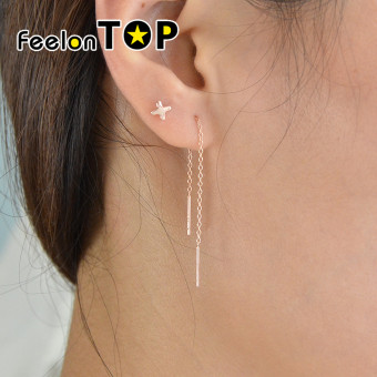 Harga Feelontop Simple 925 Silver Long Chain Earrings for Women(rosegold) - Intl