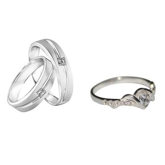 Harga Jewels & Me Jasmin Couple Wedding Ring (Silver) With Jewels & Me Lara Engagement Ring (Silver)