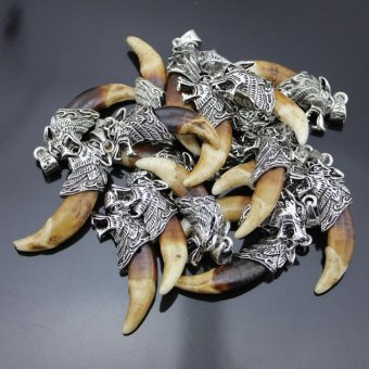 Harga 10pcs Wolf Tooth Dragon Necklace Pendant - intl