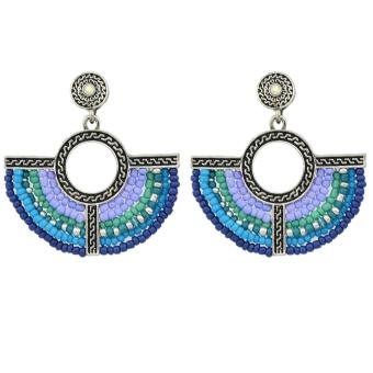 Harga Feelontop Bohemian Style Colorful Beads Fan Shape Dangle Earrings - intl