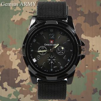 Harga GEMIUS ARMY Military Sport Style Army Men's Black Canvas Strap Watch