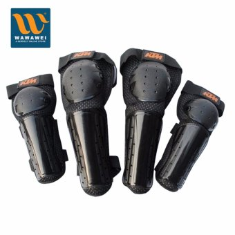 Harga KTM Off road motorcycle knee lift protection knee care elbow four piece racing off road limit drop protection (Black) #31903