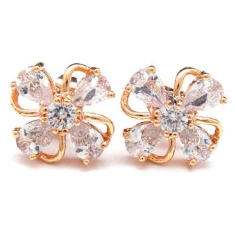 Jewelworld Bangkok Flower Cubic Zircon Earrings (gold) Price Philippines
