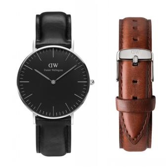 Harga Daniel Wellington Classic Black Sheffield 36mm Silver Watch with St. Mawes Strap Set