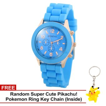 Harga Geneva Nikka Women's Silicon Strap Watch (Sky Blue) with Free Super Cute Pikachu Key Chain