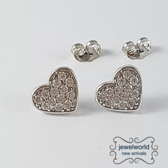 Jewelworld Heart 18k Bangkok Cubic Zircon Earrings (white gold) Price Philippines