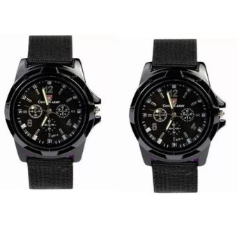 Harga GEMIUS ARMY Military Sport Style Army Men's Canvas Strap Watch (Black) Set of 2