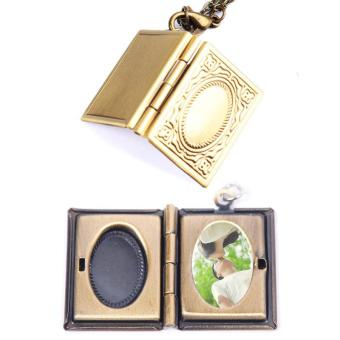 Harga High Quality Store New Amazing Photo Frame Book Bronze Pendant Locket Necklace Jewellery Gift