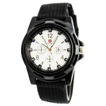 Harga Wawawei-GEMIUS ARMY Military Sport Style Army Canvas Strap Watch (Black/Silver)