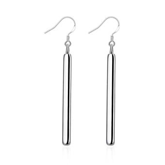 Harga La Vie Sterling Silver Simple Style Vertical Bar Clip Earrings (Silver)