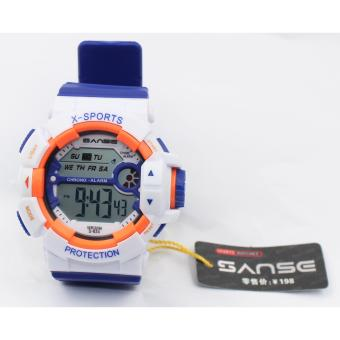 Harga Sanse Water Resistant Uni-sex Watch TPU resin Strap-634 White / Blue