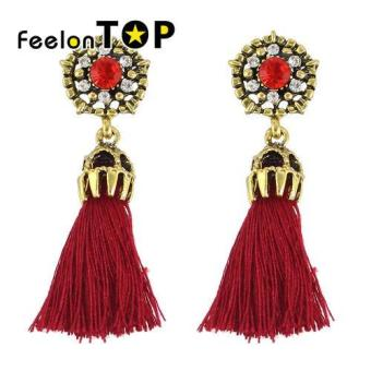 Harga Feelontop Fashion Rhinestone Rope Tassel Chain Earrings Women(red) - intl