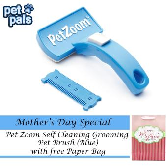 Harga Pet Zoom Self Cleaning Grooming Pet Brush (Blue) with Free Paper Bag
