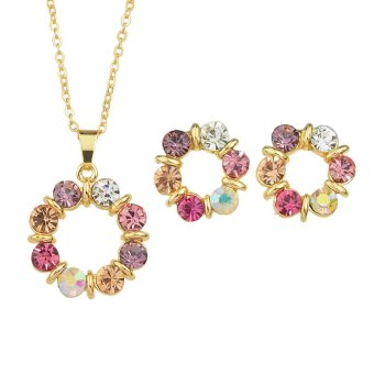 Harga New Fashion Jewerly Sets Gold Color Chain Colorful Rhinestone Flower Pendant Necklace and Cute Stud Earrings - Intl