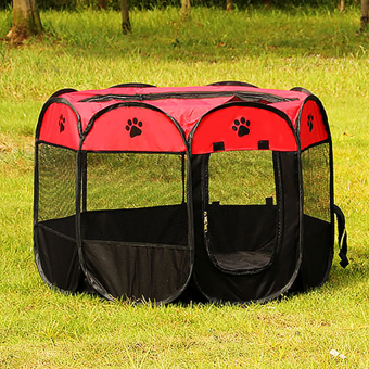 Pet Dog Bed Kennel Play Pen Soft Playpen Cage Folding Crate Red – LSize Price Philippines