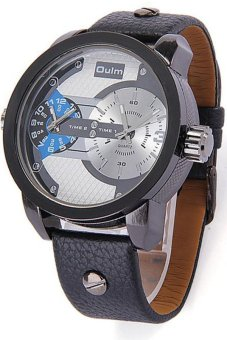 Harga Oulm Men's Black Leather Strap Watch 3221