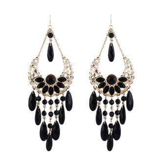 Harga Feelontop Boucle Gemstone New Bohemian Chandelier Long Drop Earring (Intl)
