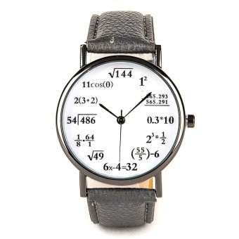 Harga Math Lover Leather Strap Watch - Grey