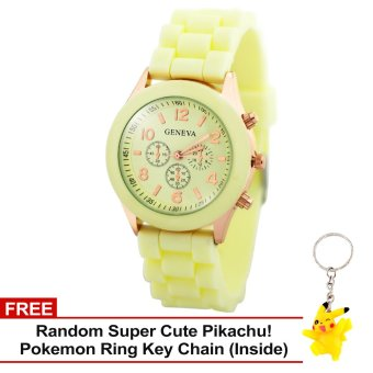 Harga Geneva Nikka Women's Silicon Strap Watch (Banna Yellow) with Free Super Cute Pikachu Key Chain