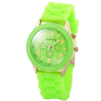 Harga Geneva Nikka Women's Silicon Strap Watch (Apple Green)