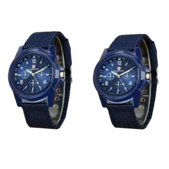 Harga GEMIUS ARMY Military Sport Style Army Men's Canvas Strap Watch (Blue) Set of 2