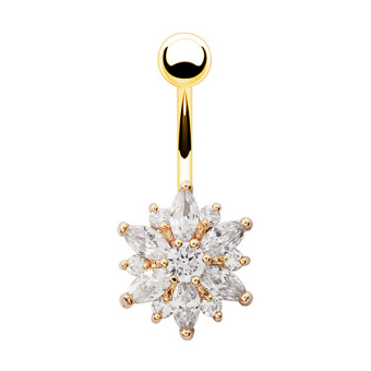 Phoenix B2C Flower Cubic Zirconia Belly Button Ring Navel Bar Barbell Body Piercing Jewelry (Gold + White)- Intl Price Philippines