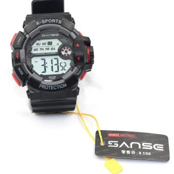 Harga Sanse Water Resistant Uni-sex Watch TPU resin Strap-634 Black