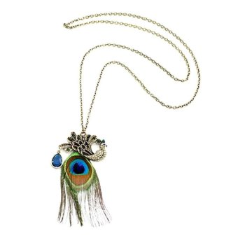Nice Gorgeous Blue Eyes Peacock Long Feather Necklace Price Philippines