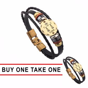 Harga GMY Buy One Take One Men and Women Zodiac Sign Leather Bracelet (Libra)