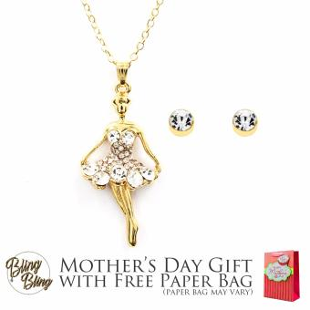 Bling Bling Ballerina Earrings and Necklace Jewelry Set (Gold) with Free Paper Bag Price Philippines