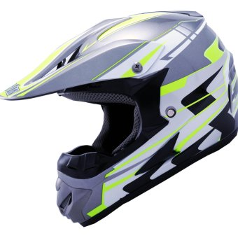 Harga LEVIN Offroad Motocross J2000 Force Motorcycle Helmet (Dark Gray/Neon Yellow)
