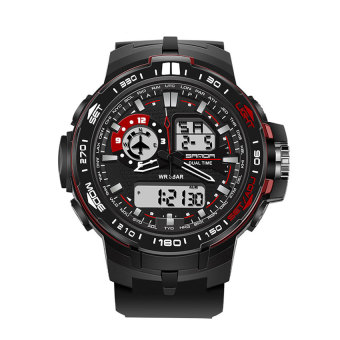 Harga SANDA 737 Men's Fashion Outdoor Sports Waterproof Noctilucent Watch(red)