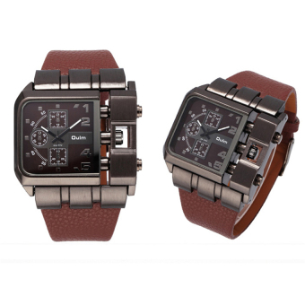 Harga 2016 Best Quality OULM 3364 Men's Casual PU Band Originality Watch (coffee)