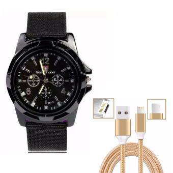 Harga GEMIUS ARMY Military Sport Style Army Men's Black Canvas Strap Watch with Cable Wire Connector for iPhone and Android 2in1 (Gold)