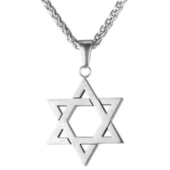 U7 Jewish Jewelry Magen Star of David Pendant Necklace Women Men Chain Stainless Steel Israel Necklace Gift (White) Price Philippines