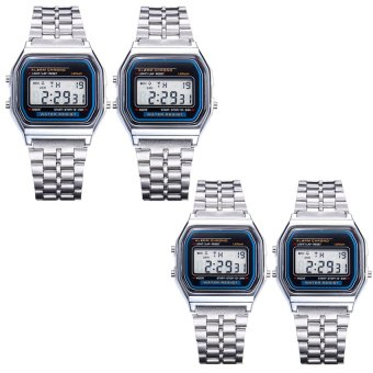 Harga E&E Ultrathin Multifunction Digital Electronic Watch with Light Set of 4 (Silver)