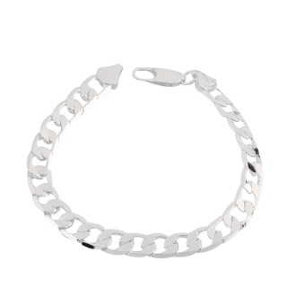 OH Hot Fashion Nice Men's Curb Chain Bracelet Jewelry 10mm/8mm/6mm (Silver) Price Philippines