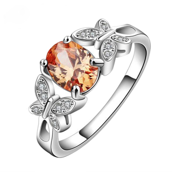 Phoenix B2C Women's Fashion Cocktail Party Butterfly Cubic Zirconia 925 Silver Plated Ring (Champagne US 8)- Intl Price Philippines