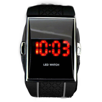 Harga ETOP Best Gift Stainless Steel Date Digital Sport Led Watch With Red Light (Black)