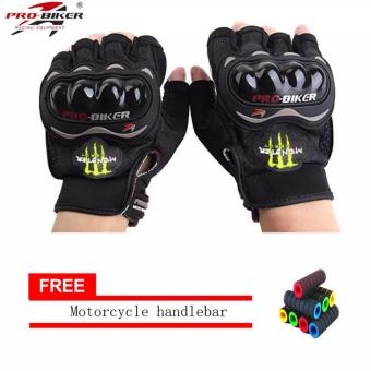 Harga lazada and USA best selling Fingerless Motorcycle Gloves Half Finger Guantes Motorcross Bicycle Riding Racing Cycling Sport Gears Breathable Luvas (Black) With Motorcycle handlebar sleeve