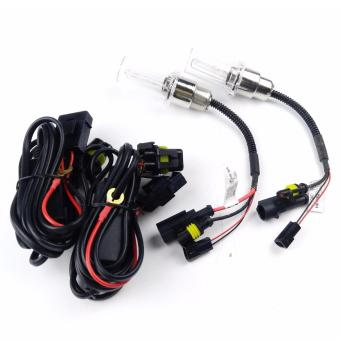 Harga 2pcs H6 / H4 H/L 35W 8000K White Motorcycle Headlight HID Xenon Bulb with Harnes
