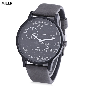 Harga MILER A8292 Unisex Quartz Watch Mathematical Formula Pattern Artificial Diamond Dial Wristwatch